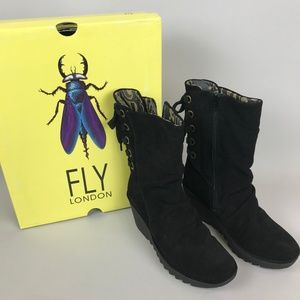 Fly London Yada Boots Wedge Black Suede 9.5 Black